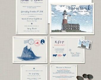 Destination wedding invitation Montauk New York Wedding Invitation Suite - coastal wedding lighthouse- Deposit Payment