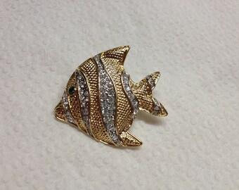 Vintage Goldtone and White Rhinestone Fish Design Pin/Brooch