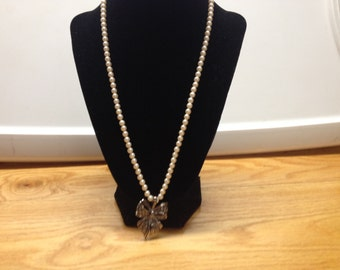 Vintage White Faux Pearl Beaded Necklace With Marcasite and Silvertone Bow Pendant