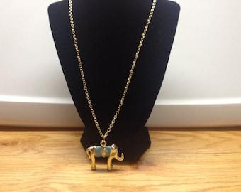 Vintage Goldtone Design Necklace with Elephant Pendant