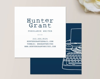 Typewriter Square Business Card / Calling Card / Mommy Card / Contact Card - Editor, Calling Cards, Business Cards, Modern Business Cards