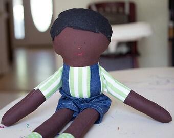 Dark skin boy cloth rag doll with black hair and black eyes