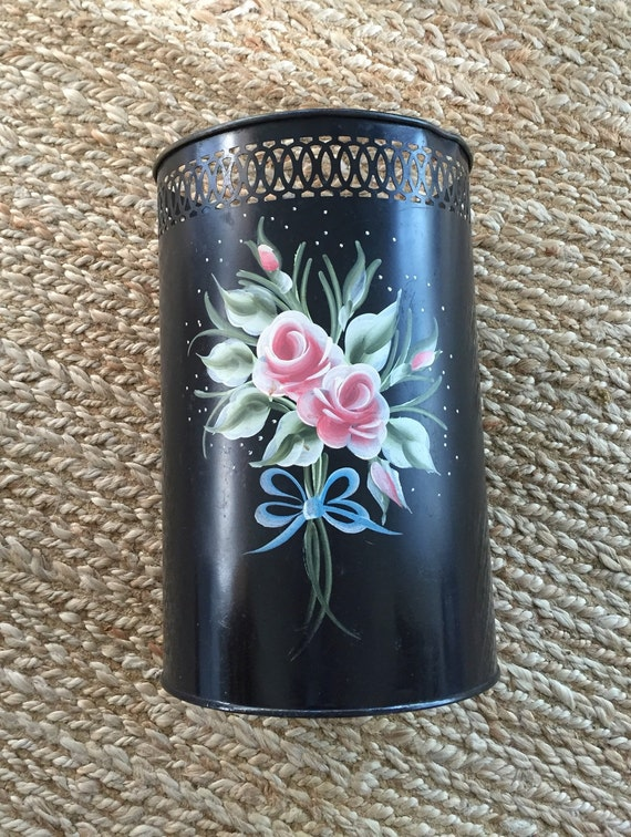 Vintage Metal Trash Can Tole Painted Trash By