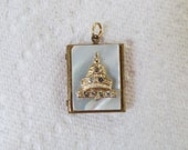 Vintage Locket Mother Of Pearl and Brass, A Capitol Building