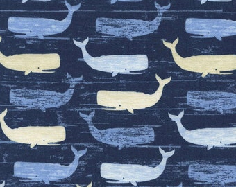 Timeless Treasures fabric WHALES on Navy