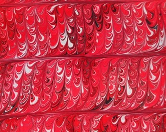 Hand-Marbled Paper - Red, black & white: Red Ladders. Book endpapers, paper art, minimalist marbling