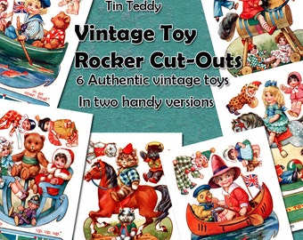 Vintage Toy Rockers Digital Printables - 1910 Childrens Toys to Cut Out and Make or Use in Your Crafts