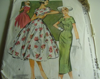 Vintage 1950's McCall's 3924 Dress Sewing Pattern, Size 14, Bust 34