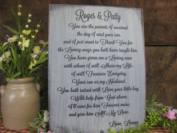 Great Wedding Gifts From Parents : Gift for Grooms Parents. Great wedding gift personalized with in laws ...