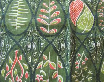 MCM 1950's Fabric Sample, MCM, Fabric, Green, Leaf, Cotton, Fabric Sample, Modern, Decorator Weight, 1950's, Botanical
