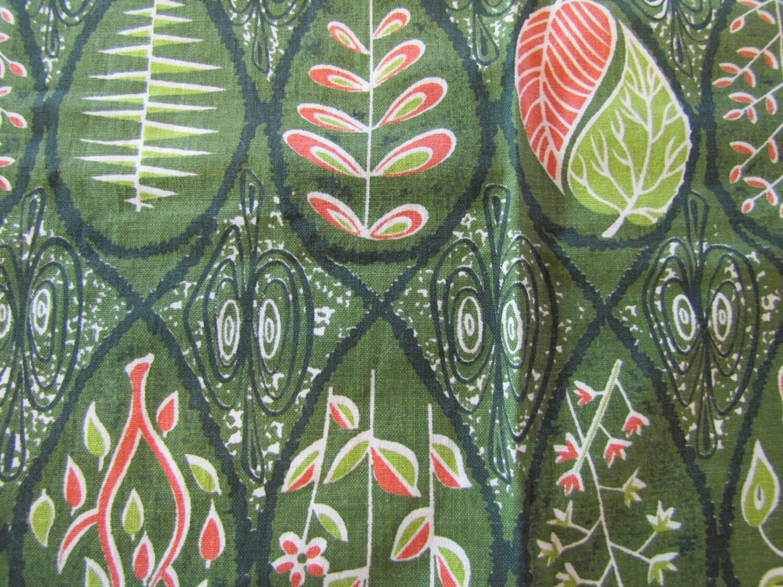 Mcm 1950 S Fabric Sample Mcm Fabric Green Leaf Cotton