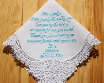 Mother of Groom Embroidered Personalized Wedding Handkerchief (#H)
