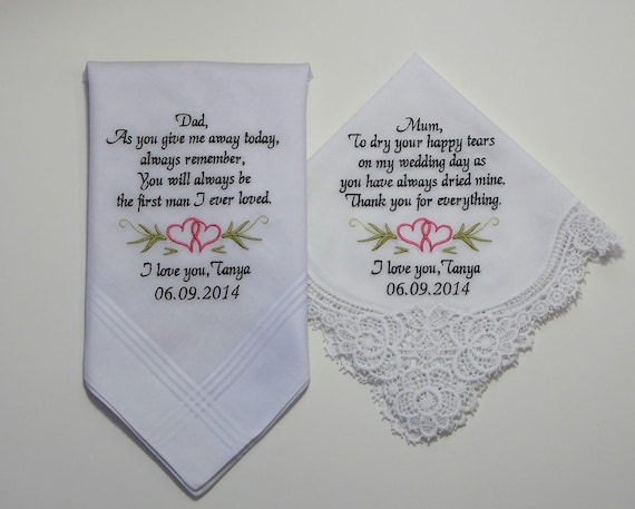 Wedding Handkerchiefs Set of Two Personalized Embroidered to Mother of the Bride & Father of the Bride (Monogram / Custom #6261)
