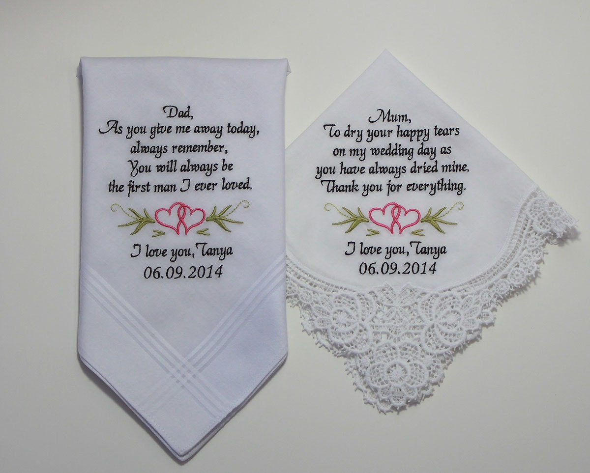 Wedding Handkerchiefs Set Of Two Personalized Embroidered To