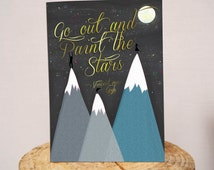 Go out and paint the Stars- Van Gogh quote A5 greeting card