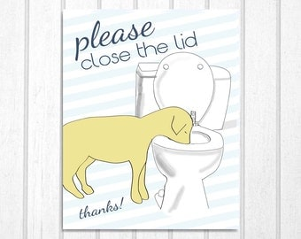 Bathroom Art Dog Drinking From Toilet: Put the Lid Down Print