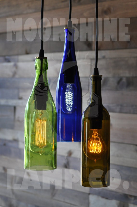 The vineyard 3 light chandelier from recycled wine bottles for How to make your own wine bottle chandelier