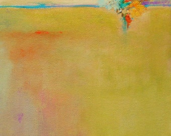 """oil painting original abstract landscape southwest desert 6""""x8"""" gallery wrap canvas with bits of gold leaf Jan Smiley"""