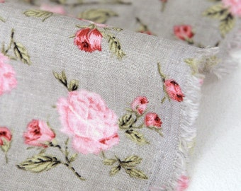 """Roses Cotton Linen - 57"""" Wide - By the Yard 80173"""