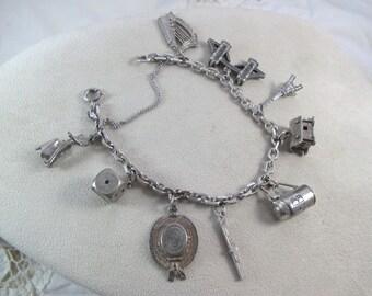 Vintage Sterling Silver 925 800 Charm Bracelet 9 Charms Matador Chalet Bridge
