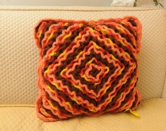 Vintage Crocheted Pillow Afghan Orange Yellow
