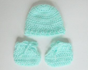 Pastel Mint Green Micro  Preemie Baby  Booties And Hat Set Very Small Infant  Boy Or Girl Cap And Slippers