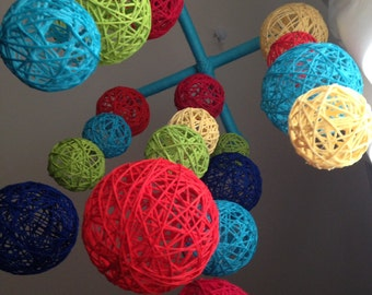 Multi Colored Yarn Ball Baby Mobile