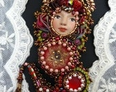 RESERVED Bead embroidered Pendant Dangerous Lady necklace Shibori silk Swarovski crystal Beadwork Ooak beaded jewelry mixed media design