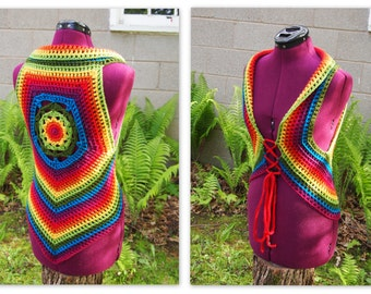 Crochet rainbow mandala vest, festival top, hooping, pride
