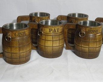 5 Wooden Beer mugs (hand-grenade) , 0,8 l (27oz) ,Custom engraving, natural wood, stainless steel inside,groomsmen gift, n13