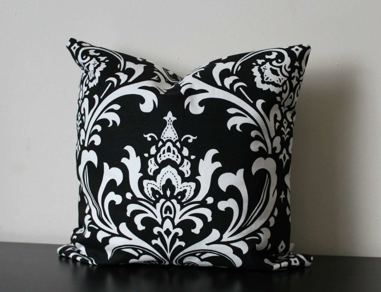Black And White Decorative Throw Pillows : Decorative Throw Pillow Cover Black and White Damask
