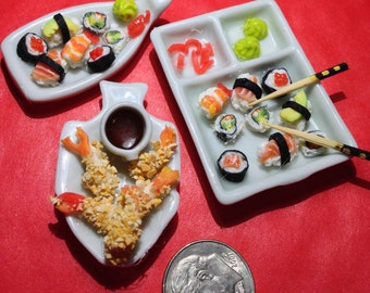 Miniature sushi or Asian foods