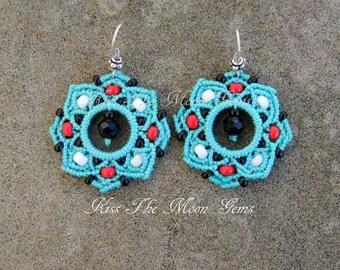 Boho Macrame Flower Earrings - Turquoise