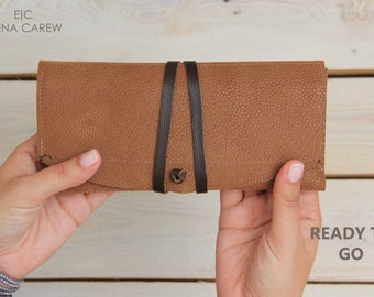 Vegan leather wallet, Natural leather wallet, Brown leather clutch, Small leather purse, Minimalist wallet women