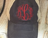 Distressed Monogram non-structured Trucker Hat monogram hat, monogram baseball cap, Trucker Hat Lots of colors