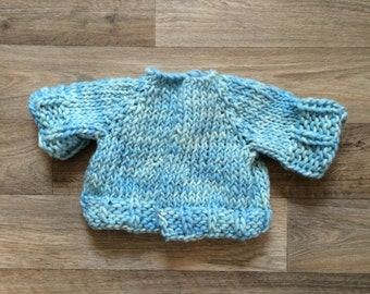 Knit Sweater - bulky style in blues, handspun soft wool, newborn - 2 months