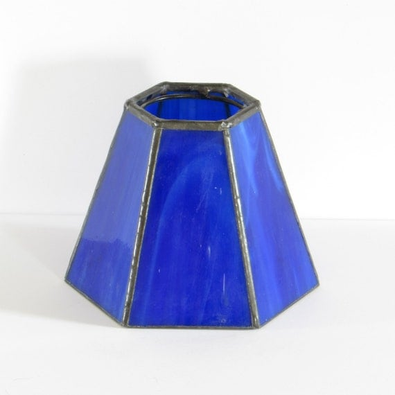 Cobalt Blue Stained Glass Lamp Shade