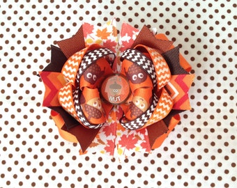 Ready To Ship Hairbow! Orange And Brown Hairbow, Fall Hairbow, Acorns Hairbow, , Polka Dot Boutique Hairbow, Girls Hairbow