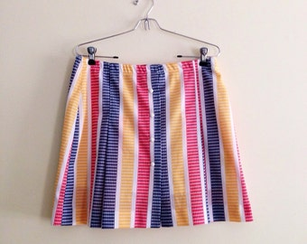 Vintage Primary Striped Skirt // Retro Go Go Skort // Mini Skirt // Festival // 70s //