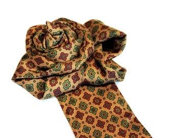 Autumn Necktie Ascot, Statement Vintage Silk Neck Tie Flower Fashion Accessory, Upcycled Mens Tie itsyourcountryspirit