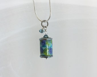 Lampwork glass necklace with crystals purple, blue and green