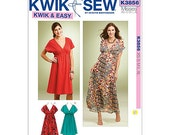 Kwik Sew 3856 - Women's Dresses - XS-S-M-L-XL - A line pull over dresses with Empire Waist - Kwik and Easy Sewing Pattern