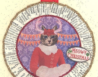 Grey Tabby Cat | Gray Tabby Cat | Kitty Cat Christmas Ornament | Vintage Style | Victorian Style