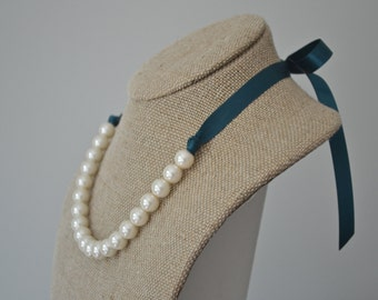 Emma: Beautiful Ivory Pearl Necklace with Teal Ribbon Tie - Bridesmaids