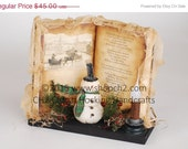 Christmas in July SALE Winter Wonderland, Snowman Scene, Christmas Vinette