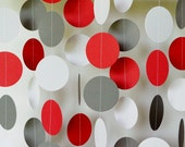 Red, Gray, White Garland, Red Birthday Party Decoration, Dad's Birthday Party, Red Gray Circle Paper Garland, Baby Shower Decor, 10 ft. long
