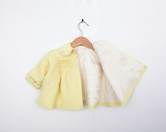 Vintage Spring Baby Coat in Yellow with Smocking and Lace