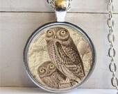 Owl Pendant,  Barn Owl Necklace, Bird Jewelry, Owl Jewelry
