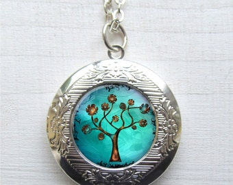 Tree Of Life Necklace, Tree Pendant, Photo Locket, Locket Necklace, Tree Locket