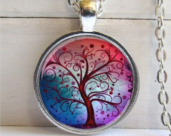 Fanciful Forest Tree Pendant - Whimsical Tree Art Pendant